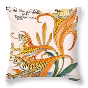 When Lilies Turned To Tiger Blaze Throw Pillow by Walter Crane