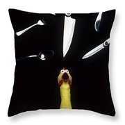 When Rubber Chickens Juggle Throw Pillow