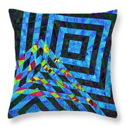 When Squares Merge Blue Throw Pillow