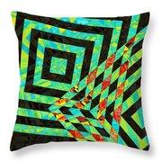 When Squares  Merge Green Throw Pillow
