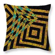 When Squares Merge Yellow Throw Pillow