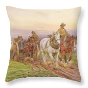 When The Days Work Is Done Throw Pillow by Charles James Adams