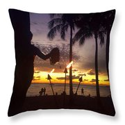 When The Night Come Sunset At The Beach Throw Pillow