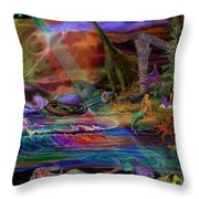 Where The Mermaids Meet Throw Pillow by Frances McCloskey