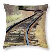Where The Tracks Bend Throw Pillow