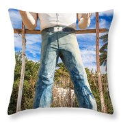Whered It Go Muffler Man Statue Throw Pillow