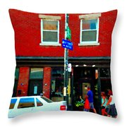 Wheres The Beef On Rue Notre Dame Joe Beef Resto Montreal Urban  Art Scene Carole Spandau Throw Pillow