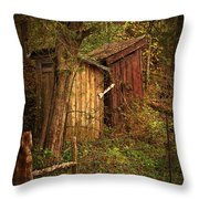 Which Way To The Outhouse? Throw Pillow by Priscilla Burgers