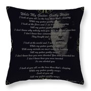 While My Guitar Gently Weeps Golden Scroll Throw Pillow