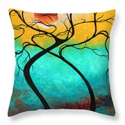 Whimsical Abstract Tree Landscape With Moon Twisting Love IIi By Megan Duncanson Throw Pillow