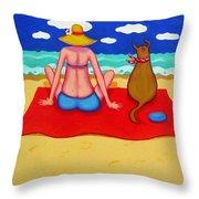 Whimsical Beach Seashore Woman And Dog Throw Pillow