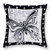 Whimsical Black And White Butterfly Original Painting Decorative Contemporary Art By Madart Studios Throw Pillow