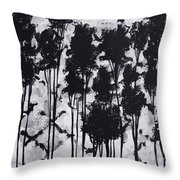 Whimsical Black And White Landscape Original Painting Decorative Contemporary Art By Madart Studios Throw Pillow
