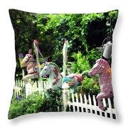 Whimsical Carousel Horse Fence Throw Pillow