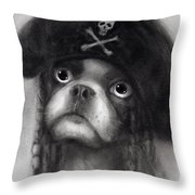 Whimsical Funny French Bulldog Pirate  Throw Pillow
