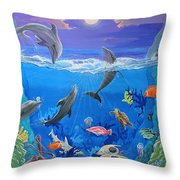 Whimsical Original Painting Undersea World Tropical Sea Life Art By Madart Throw Pillow