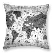 Whimsical World Map Bw Throw Pillow