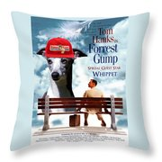 Whippet Art - Forrest Gump Movie Poster Throw Pillow
