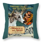 Whippet Art - The World In His Arms Movie Poster Throw Pillow