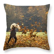 Whirling With Leaves Throw Pillow