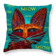 Whiskers Meowing Throw Pillow
