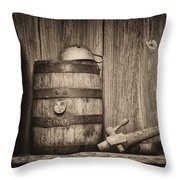 Whiskey Barrel Still Life Throw Pillow
