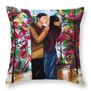 Whispering Kiss Throw Pillow by D August