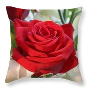 Whispers Of Passion And Love Red Rose Greeting Card  Throw Pillow