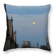 Whispy Clouds And A Moon Throw Pillow
