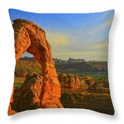 Whispy Clouds Over Delicate Arch Throw Pillow