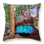 Whistler Train Wreck Box Car Graffiti Throw Pillow