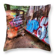 Whistler Train Wreck Covered In Graffiti Throw Pillow