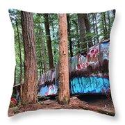 Whistler Train Wreckage In The Trees Throw Pillow