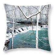 Whitaker Falls In Winter Throw Pillow by Thomas R Fletcher