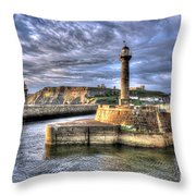Whitby Harbour On The North Yorkshire Coast Throw Pillow