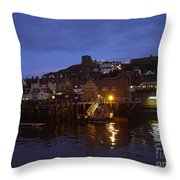 Whitby Lower Harbour And The Rnli Lifeboat Station At Night Throw Pillow