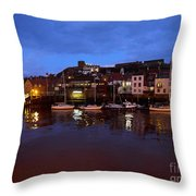 Whitby Lower Harbour At Night Throw Pillow