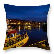 Whitby Upper Harbour At Night Throw Pillow
