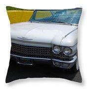 White 1960 Caddy Throw Pillow