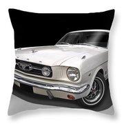 White 1966 Mustang Throw Pillow
