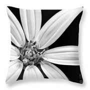 White And Black Flower Close Up Throw Pillow