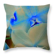 White And Blue Orchid Throw Pillow