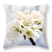 White And Bright - Beautiful Blossoms Throw Pillow
