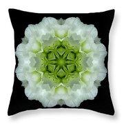 White And Green Begonia Flower Mandala Throw Pillow
