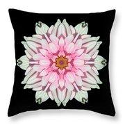 White And Pink Dahlia I Flower Mandala Throw Pillow