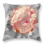 White And Pink Lace Throw Pillow