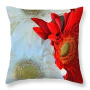 White And Red Flowers Throw Pillow