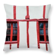 White And Red Half-timbered House Detail Throw Pillow