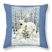 White Animals Red Bird Throw Pillow
