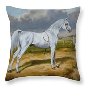 White Arabian Stallion Throw Pillow
